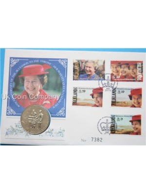 1992 falkland islands 40th anniversary of reign coin stamp first day cover,